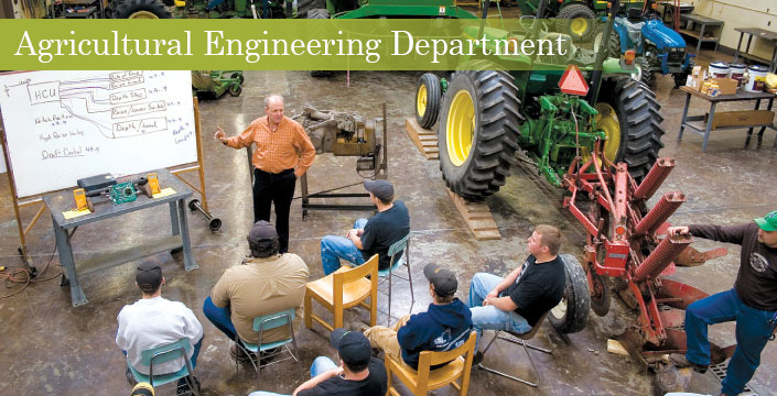 Agricultural Engineering class by tractors