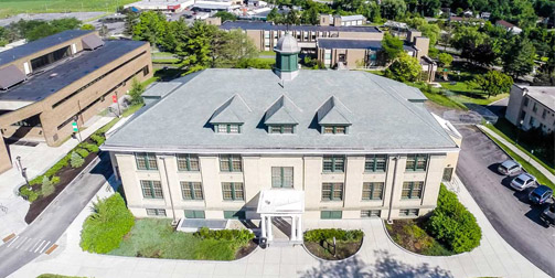 aerial view of Frisbie Hall
