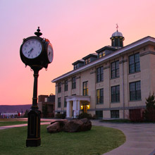 Frisbie Hall at sunset