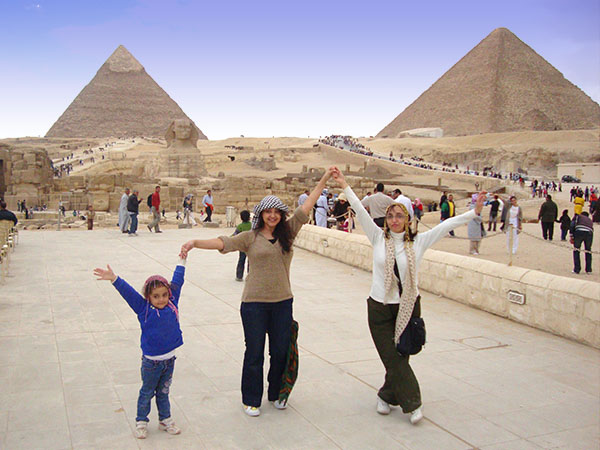 Lydia Hanany at the pyramids in Egypt