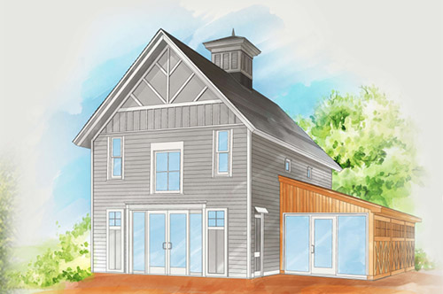 architect rendering of the renovated Carriage House