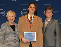 Chancellor Nancy Zimpher, Student Marten Peterson, Provost Debra Thatcher